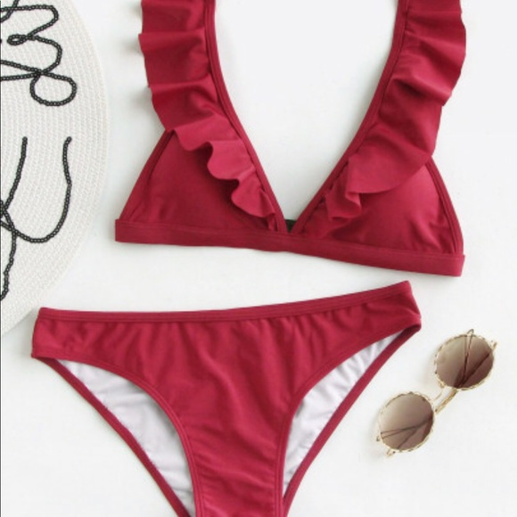 2edae922b6 SHEIN Swim | Ruffle Detail Adjustable Strap Bikini Set | Poshmark